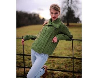 Ladies Merino Wool Drape Collar Aran Cardigan in Green/Blue/White