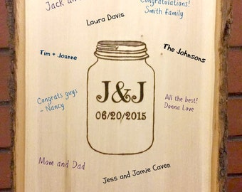 rustic wedding guest book alternative - mason jar guest log