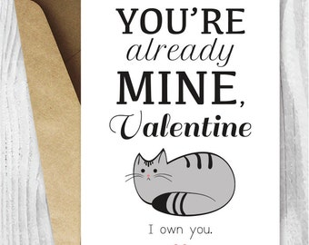 Valentines Card Funny Printable, Funny Valentineu0027s Day Card, Funny Cat  Valentine Digital Card,