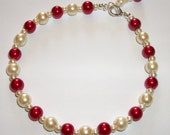 FRANCESCA  Maroon Red Cream Glass Pearl Anklet Earrings Ankle Bracelet Ankle Chain Holiday Jewellery Anklet Beachwear Wedding 10.75