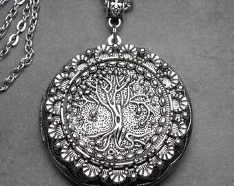 Tree of Life Family Tree Genealogy LocketAntique Silver Necklace, Family History