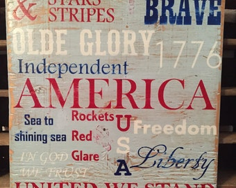 America, Stars and Stripes, handmade hand painted rustic wooden sign, United We Stand, 4th of July, red white and blue, Independent, patriot