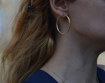 Gold filled hoop earrings, Women's gifts, Women hoops gold fill,Popular women hoops.