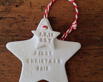 First Christmas white clay Christmas decoration ~ Christmas ornament ~ baby's first Christmas ornament ~ newlywed ~ personalised Christmas