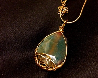 SALE-Wire wrapped Gem Stone pendant necklace