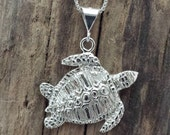 Large Sterling Silver Sea Turtle Pendant on an 18 in sterling silver 1mm box chain #74*18