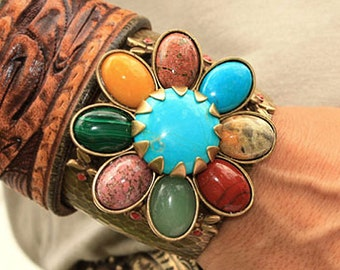 Gemstone Bracelet, Cuff Bracelet, Gemstone Cuff, Flower Bracelet, Flower Cuff, Western Jewelry, Gypsy Bracelet, Flower Jewelry BR121