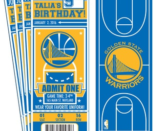12 Golden State Warriors Custom Birthday Party Ticket Invitations - Officially Licensed by NBA