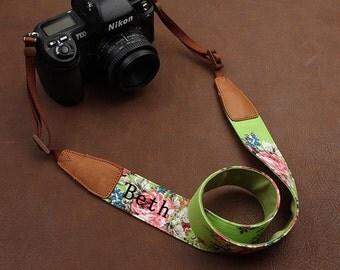 Personalized camera strap. Folk style bohemian flowers camera strap for Nikon Canon. Custom name DSLR camera strap for Photographers-C11