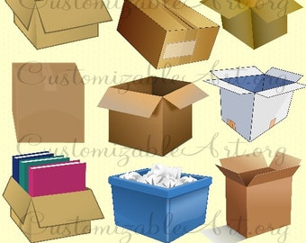 Moving Boxes Cardboard Box Clipart Digital Clip Art Open Closed Taped Packing Recycled Bin Paper Trash Brown Box Clipart Images Graphics