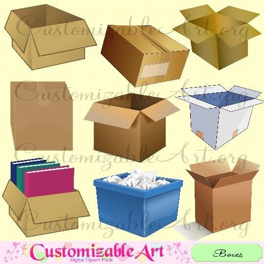 Moving Boxes Cardboard Box Clipart Digital Clip Art Open