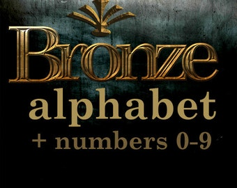Bronze digital alphabet clipart, metal font with uppercase and lowercase letters and numbers; for commercial use