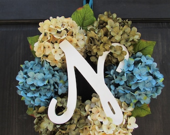Summer Wreath with Initial, Wreath with Monogram, Letter Wreath for Summer, Door Wreath for Spring, Monogram Wreath, Personalized Wreath