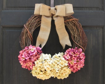 Cream & Pink Hydrangea Wreath for Spring, Summer Grapevine Wreath for Front Door Decoration, Spring Grapevine Wreath for Door, Rustic Wreath