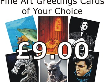 FOUR GREETINGS CARDS of Your Choice. Fine Art Greetings Cards, Any Four, Any Designs, Blank Inside