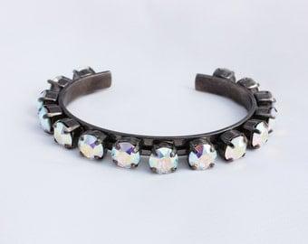 Aurora Borealis 8mm Swarovski Crystal Adjustable Bracelet