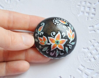 black pin paint brooch womens gift for her Gothic style black and white Flower Jewelry eco friendly Jewelry handmade Brooch ethnic wood pin