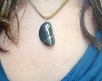 Hematite Moon Wire Wrapped Choker Pendant