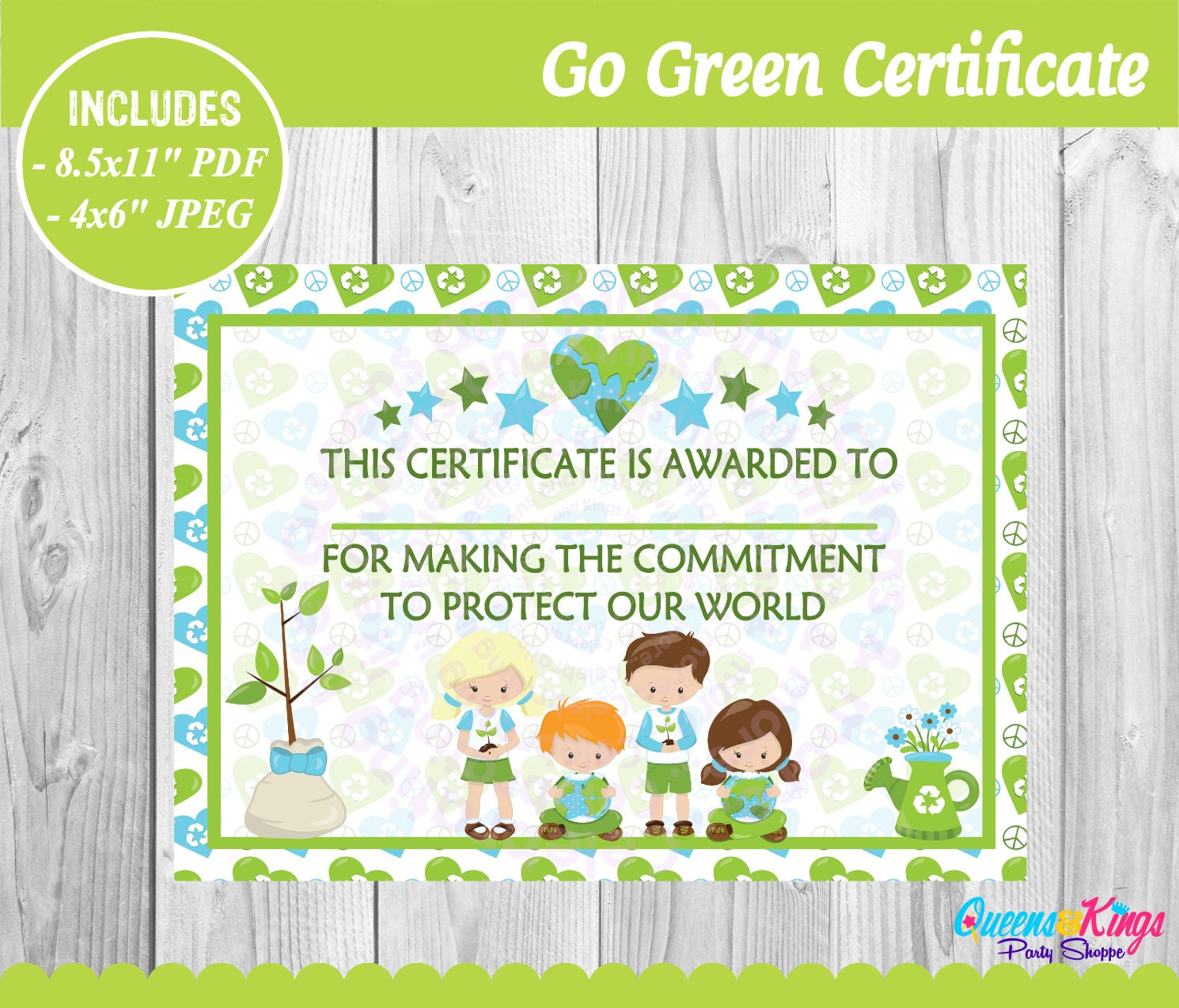 earth day certificate earth day printable go green
