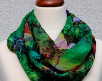 Scarf loop circle scarf chiffon tropical PAPAGENA green flowers