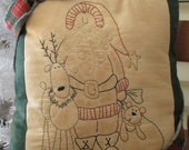 Santa and Friends Decorative Christmas Pillow - Hand Embroidered