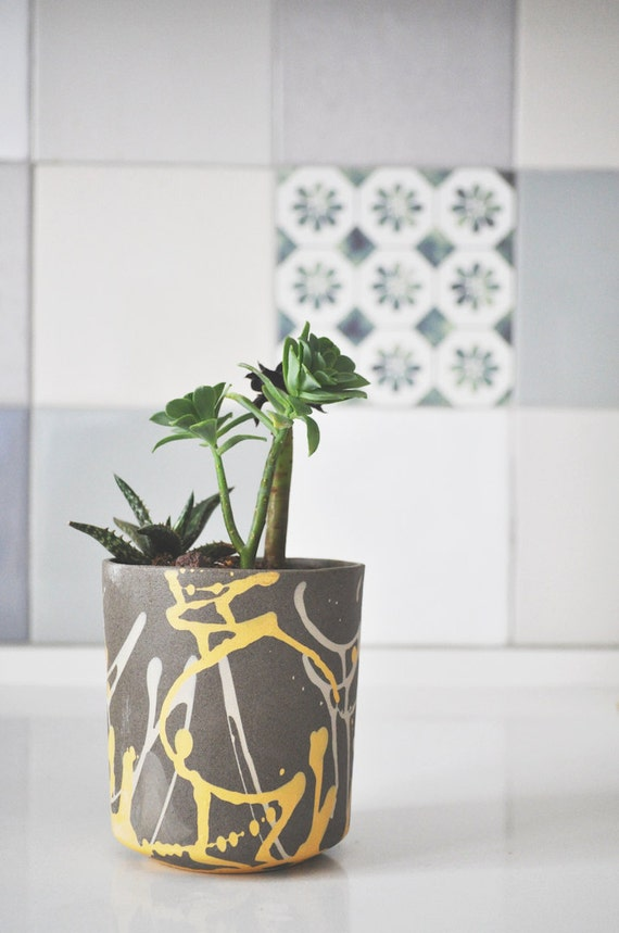 Modern Planter Ceramic Planter Paint Splatter By Yahalomis