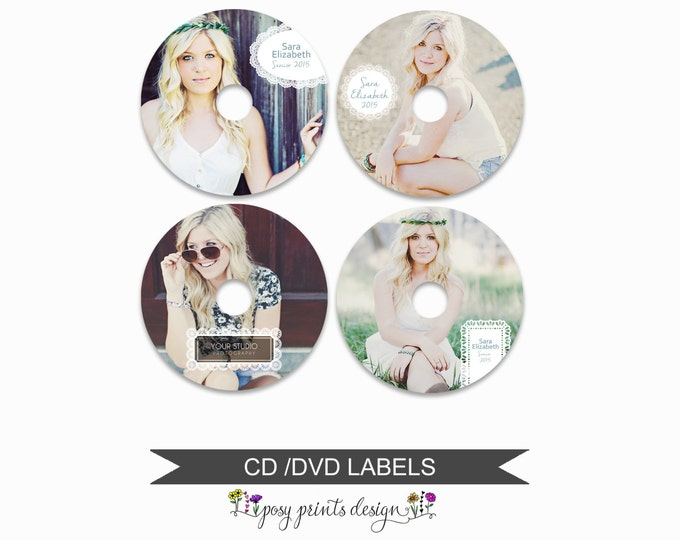 DVD CD Labels - Set of 4 - Template for Photographers - Digital Photoshop Template - Lace