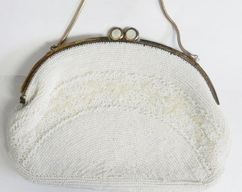 Vintage 1950s Purse Walbrog Beaded Floral Pattern Mother of Pearl Inlay - SALE