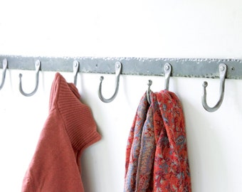 "36"" Rustic Hand Forged Coat Hook Rack with Ball End Hooks, Blacksmith Steel Hanger."
