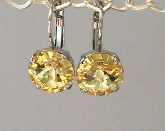 Yellow Crystal Drop Earrings, Swarovski Jonquil Earrings, Swarovski Yellow Crystal Earrings