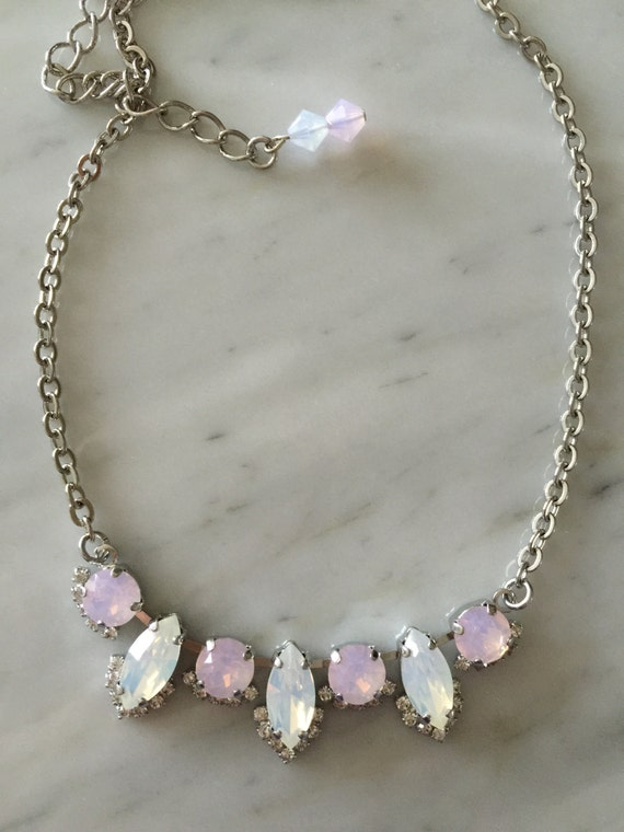 White and Rose Water Opal, Marquise & Round Cut, Crystal Bridal, Bridesmaid Necklace