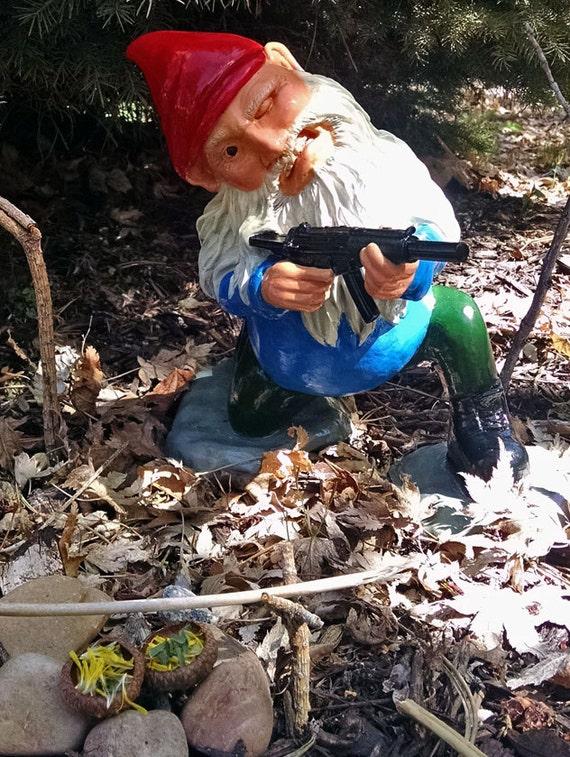 Combat Gnome Soldier Sculpture Funny Military Hk Mp5 Lawn
