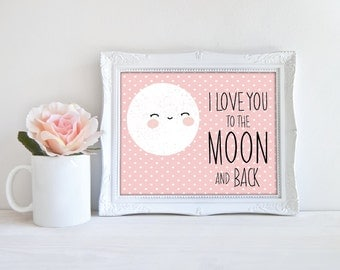 Moon Digital Art, I love you to the moon and back Wall Art, Modern Nursery Art, Pink Dots Kids Room Decor, Instant download(BabyArt BB3)
