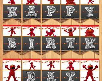 Elmo Birthday Banner Chalkboard * Elmo Happy Birthday Banner* Elmo Sign * Elmo Favors * Elmo Party Favors - Elmo Printables