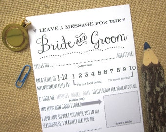 DIY Printable Wedding Advice Card for the Bride and Groom / Guest Book Message for the Newlyweds / Instant Download PDF