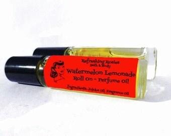 Watermelon Lemonade Perfume Oil - Roll on - 1/3 oz - Jojoba Oil, Fragrance