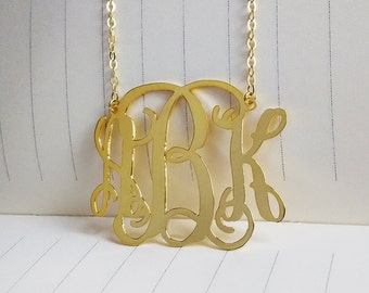 Personalized Monogram Necklace,3 Initial Monogram Necklace,1.25 inch Gold Monogram Necklace,Monogrammed Gifts,Custom Name Necklace