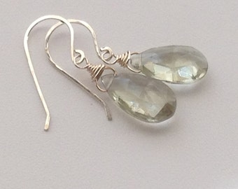 Green Amethyst Earrings, sterling silver, gold, February birthstone, large briolette, drop, dangle, wire wrap, gemstone, handmade, modern
