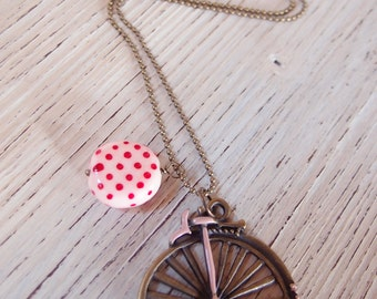 Long necklace with bicycle pendant-vintage Jewelry-vintage velocipede pendant necklace-gift for girl-necklace for friend