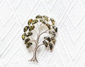 Tree of Life Brooch, Tree of Life Jewelry, Amber Silver Brooch, Tree Brooch, Amber Jewellery, Green Amber, Baltic Amber, Tree Jewellery