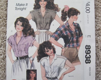 UNCUT Misses Shirts - Size XS - McCalls Sewing Pattern 8938 - Vintage 1984