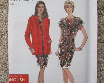 UNCUT Misses Dress and Jacket - Simplicity Sewing Pattern 9705 - Vintage 1995