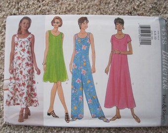UNCUT Misses Dress and Jumpsuit - Size 6 to 10 - Butterick Pattern 4558