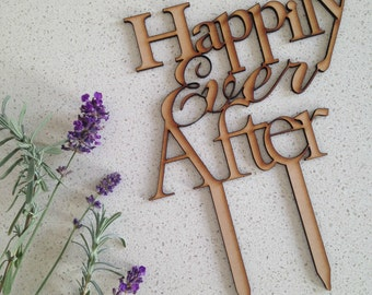 Happily Ever After Wooden Cake Topper, Wedding Cake Topper (Australia)