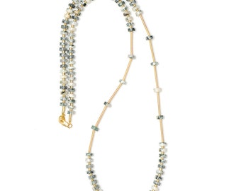 Long gemstone necklace with tree agate beads - gold, green, creamy-white - hand crafted natural stone necklace - EVA