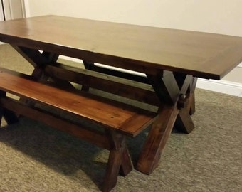 Handcrafted Farmhouse X Style Dinning Table