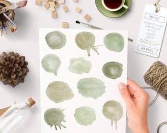 Clipart Watercolor pack, splashes and splatter. Watercolour graphics handprinted. Round blob images  in green, sage for instant download