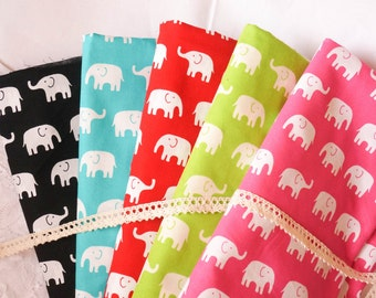 Elephant cotton fabric by the yard, kids fabric, girl,  animal, simple, claen of 100% Cotton Fabric, Fat Quarter, half yard, yard.