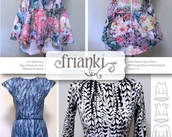 Women's Peplum Top & Dress - PDF Sewing Pattern and Photo Tutorial - Sizes 8 to 14 - Instant Download