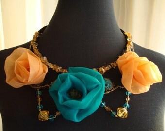 Beautiful organza flowers bib necklace